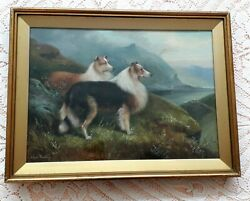 Collie Pair In Highland Landscape Dog Painting Oil On Canvas By Charles Dudley