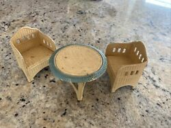 Antique Doll House Miniature German Korbi Wicker Table Chairs