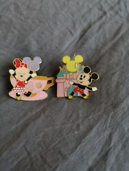 Disney Pastel Mickey And Minnie Pins Teacups Castle Balloon 2008