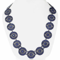 Pave Diamond Sapphire Evil Eye Necklace 925 Sterling Silver Gift Jewelry Sa