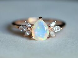 14k Gold Pear Cut Fire Opal And Marquise Diamond Cluster Promise Engagement Ring