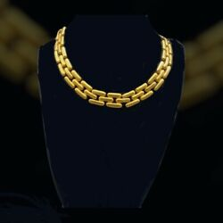 Vintage Panther Link Chain Matte Gold Plated Necklace