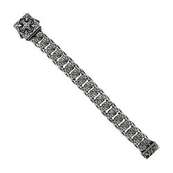 925 Sterling Silver Engraved Link Chain Bracelet Antique Jewelry Sa