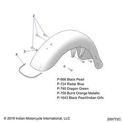 Indian Motorcycle Front Fender Genuine Oem Part 1024381-750 Qty 1