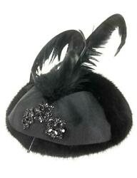 Black Mink And Feather Fascinator Hat