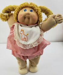 Coleco Cabbage Patch Kid 1985 Baby Doll In Pink Outfit With Bib