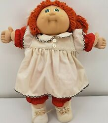 Coleco Cabbage Patch Kid 1985 Baby Doll In Red And White Apron Dress