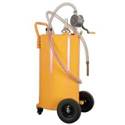 35 Gallon Portable Gas Fuel Diesel Caddy Transfer Tank W/ 2 Front Caster Yellow