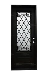 Pre-hung Single Wrought Iron Entry Door - Crested Butte - 38 X 96 - Rain Glass
