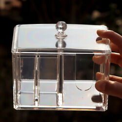 Makeup Cosmetic Clear Acrylic Cotton Swab Pad Holder Storage Organizer Box $14.22