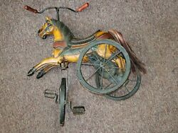Horse Tricycle Wood And Iron, Child's Wheels Pedal Car Antique Vintage