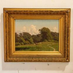 Antique Original Oil On Canvas Painting Of Elk In Meadow Signed By Carl Bartsch