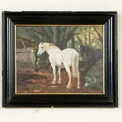 Antique Oil On Board Painting Of White And Bay Horses In Turnout Signed Simon S