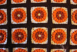 1960and039s 3d Orange Floral Afghan Granny Square Fall Crochet Blanket Handmade 65x79