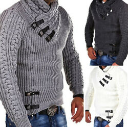 Menand039s Winter Pullover Hoodies Knitted Jacket Turtleneck Cardigan Casual Sweaters