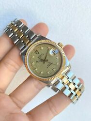 Tudor Date Diamond Textured Dial Two Tone Menand039s Watch Vintage 36mm