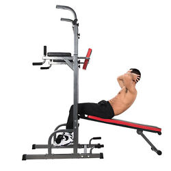Power Tower Dip Station W/ Bench Bar Adjustable Pull Up Bar Station Home