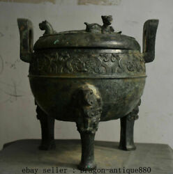 18 Old Chinese Bronze Ware Dynasty Beast Handle 3 Legs Ding Sacrificial Vessel