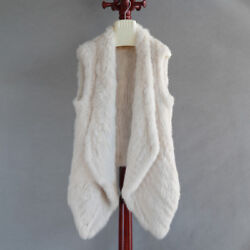 Womenand039s 100 Real Genuine Knitted Rabbit Fur Soft Vest Gilet Casual Waistcoat Sz