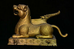 10 Old Chinese Dynasty Copper Gold Ancient Dragon Beast Tiger Chop Cut Statue
