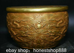 8.2 Marked Old China Red Copper 24k Gold Palace Double Dragon Play Ball Censer
