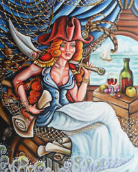 Olie Griffard Original Painting Pirate Girl Red Wine Steampunk Ship Abstract Art