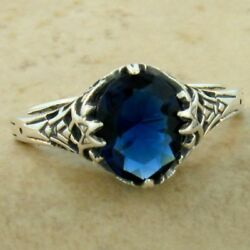 Victorian Antique Style 925 Sterling Silver Blue Sim Sapphire Ring Size 9 1138