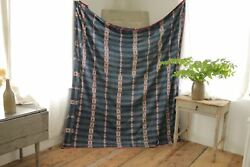 Antique Ikat Fabric French Flamme 18th Century Indigo De Provence Madder Pink