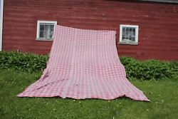 Antique French Huge Vichy Check Fabric Faded Pink 1840 Panel Large Curtain