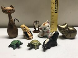 Vintage Figurine Lot Cat Turtle Skunk Tax Old Toy Wood Ceramic Brass Antique WoW