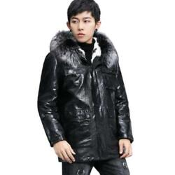 Luxury Mens 100 Sheep Leather Silver Fox Fur Collar Lined Parka Hooded Coats L