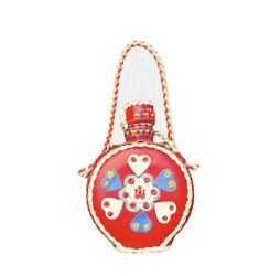 Vintage Genuine Leather Handemade Tribal Red Covered Bottle Canteen Flask Hearts