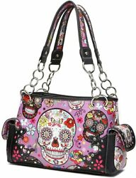 Sugar Skull Rose Flower Day of the Dead Concealed Carry Purse Totes Women Handba $54.95