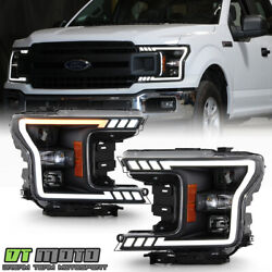 2018-2020 Ford F150 [haloge Type] Black Led W/ Signal Tube Projector Headlights
