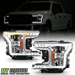 2018-2020 Ford F150 [haloge Type] Chrome Led W/ Signal Tube Projector Headlights