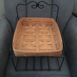 """Longaberger 14"""" Wrought Iron Paper Tray Stand With One Basket"""