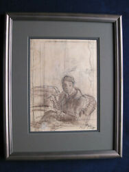 Original Drawing Of Carson Mccullers - Signed By Henry Varnum Poor - Framed