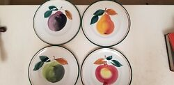 Crate And Barrel Fruit Plates In Wooden Box - Set 4 - Free Shipping
