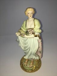 Vintage Figurine Lady W Flower Basket CMC Sylvan China Continental Japan