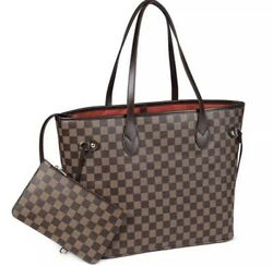 Purely Radiant Checkered Tote Bag For Women Leather Shoulder Strap With Pouch $59.99