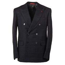 Isaia Modern-fit Charcoal Black Check Soft Brushed Wool Suit 36r Eu46 Gregorio