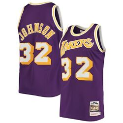 Los Angeles Lakers Magic Johnson Mitchell And Ness Purple 1984-85 Authentic Jersey