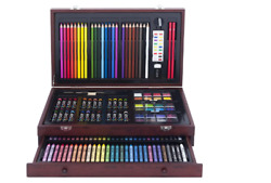 Art Set With Wood Case 145-pcs Teen Deluxe Wooden Box Artist Drawing Kit Pencil