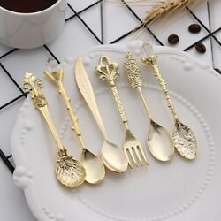 6pcs Vintage Spoons Fork Mini Royal Style Metal Gold Carved Spoons