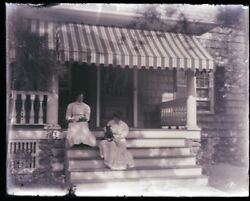 1 Late 1800s, Early 1900s Antique Glass Negative, Two Woman, One Dog, Porch