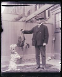1 Late 1800s, Early 1900s Antique Glass Negative, Man Feeding Dog, Focus