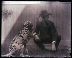 1 Late 1800s, Early 1900s Antique Glass Negative, Man And Dog Playing