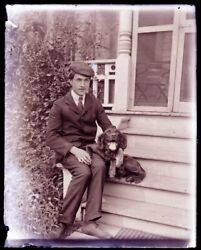 1 Late 1800s, Early 1900s Antique Glass Negative, Man And Dog On Stairs