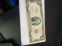 ✯ 1963 Two Dollar Note Red Seal ✯2 Bill ✯us Currency✯old Money✯