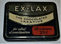 Vintage Ex-lax The Chocolated Laxative Tin 18 Tablet Container